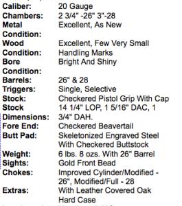 Winchester/Parker Reproduction A-1 Special 2 Barrel Set 20 Gauge