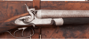Cased E. M. Reilly Bar-in-Wood Hammer Double Barrel Shotgun