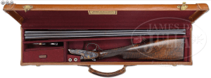 BOSS .410 GAUGE SIDE BY SIDE, SIDELOCK EJECTOR, SINGLE TRIGGER GAME GUN WITH CASE.