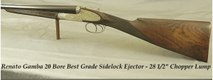 GAMBA 20 BORE ITALIAN SIDELOCK EJECTOR - BEST & HIGHEST GRADE: