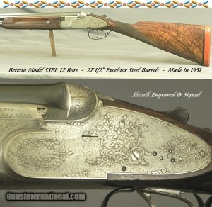 "BERETTA 1951 S3EL SIDELOCK- EXC FLORAL & SCROLL ENGRAVING by M. SLATNIK- NEAR EXHIBITION WOOD- 27 1/2"" SOLID RIB BARRELS"