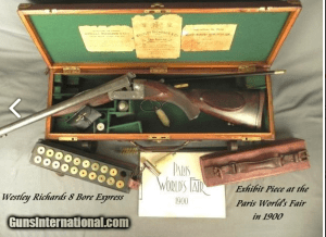 "WESTLEY RICHARDS 8 BORE- 16 Lbs. 3 Oz.- EXHIBIT PIECE at PARIS WORLD'S FAIR in 1900- 26"" FULLY RIFLED DAMASCUS Bbls.- EXC. BORES- CASED"