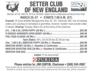 Setter Club of New England Spring 2016 Field Trial