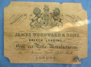 James Woodward & Sons, St. James St., Gunmaker case label