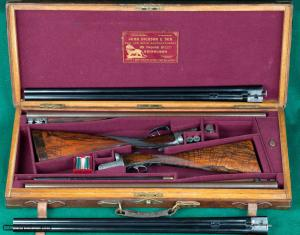 """John Dickson & Son --- Round Action Hammerless Ejector Toplever Cased Pair --- 12ga, 2 3/4"""" Chambers"""