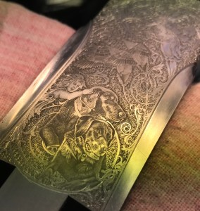 Custom dog portrait, hand engraved on a Beretta SO shotgun