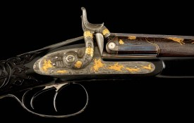 (A) TRULY SUPERB QUALITY, BEAUTIFULLY RELIEF GOLD INLAID AND ENGRAVED PERCUSSION SHOTGUN BY KOEZ
