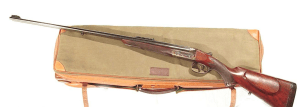 WEBLEY & SCOTT DOUBLE RIFLE IN .250-3000 CALIBER IN IT'S ORIGINAL LEATHER CASE