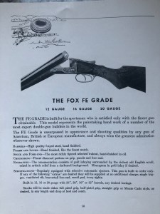 Fox FE, page from 1939 Savage Fox Catalog. Gun cost $525.