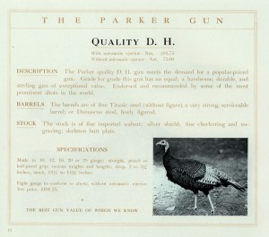 Parker Quality D.H. shotgun, page from The Parker Gun catalog, image from www.ParkerGuns.org