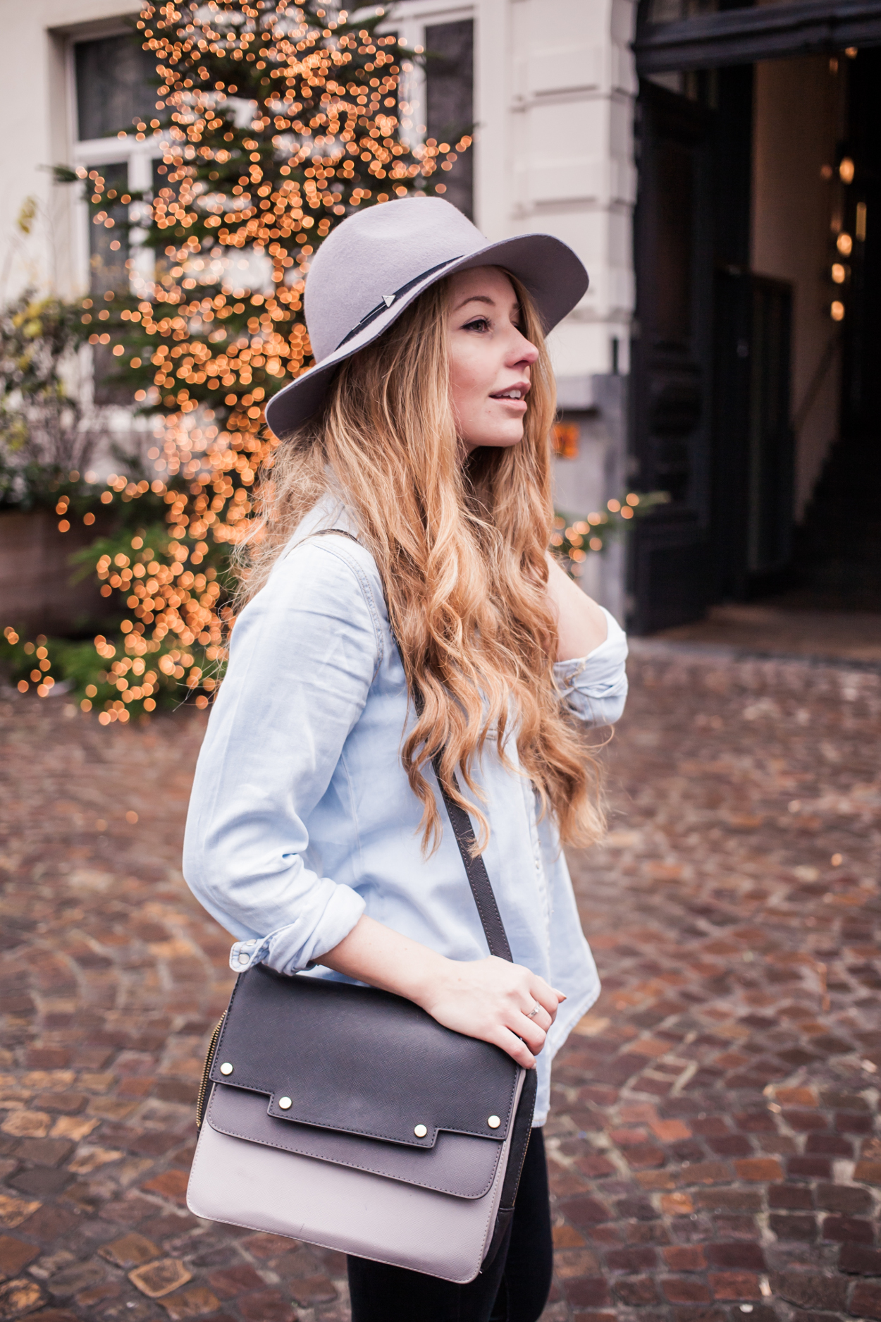 Dogs and Dresses furry coat grey hat outfit streetstyle