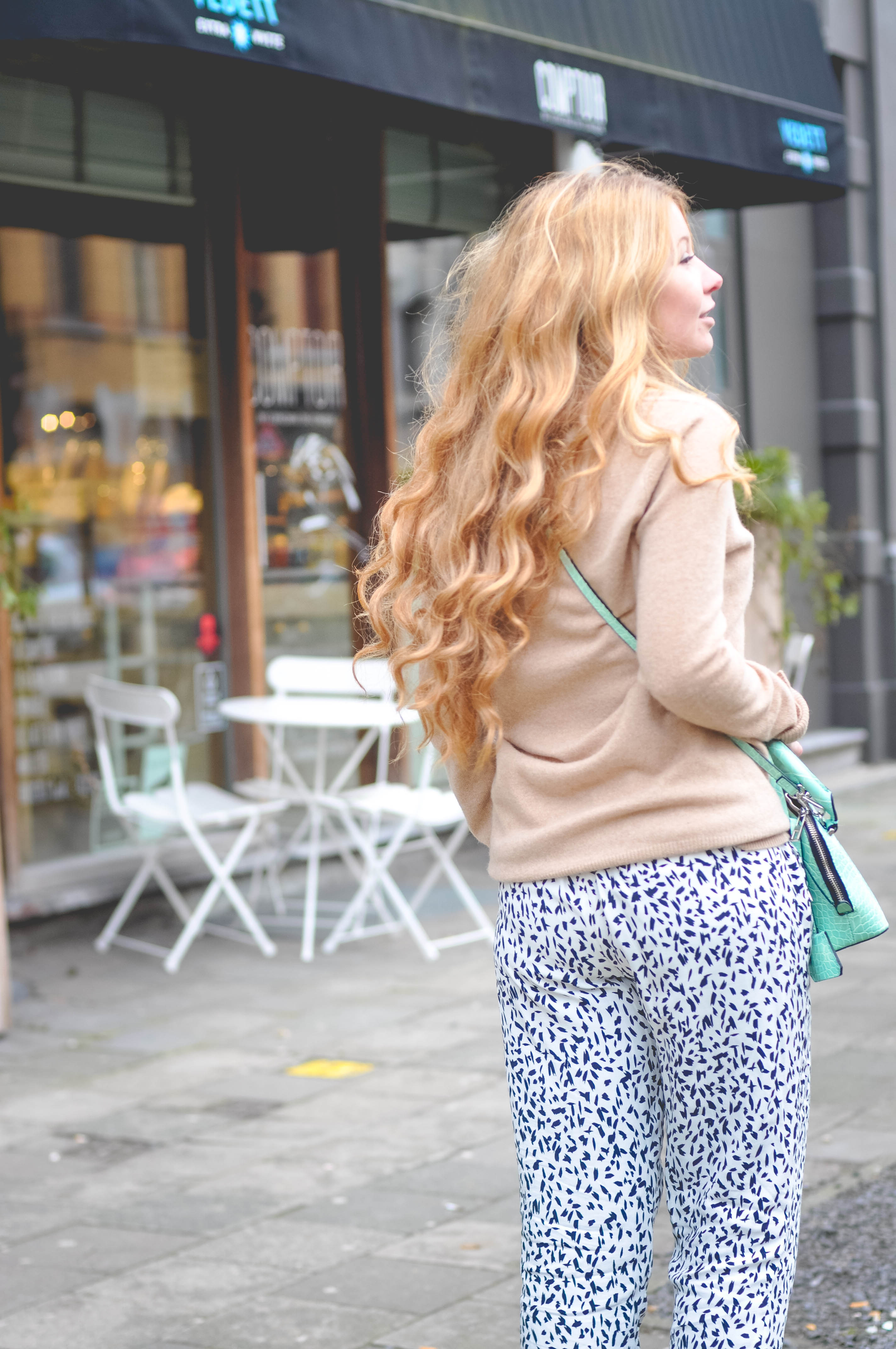 Dogs and Dresses camel coat print pants and cashmere sweater outfit-70