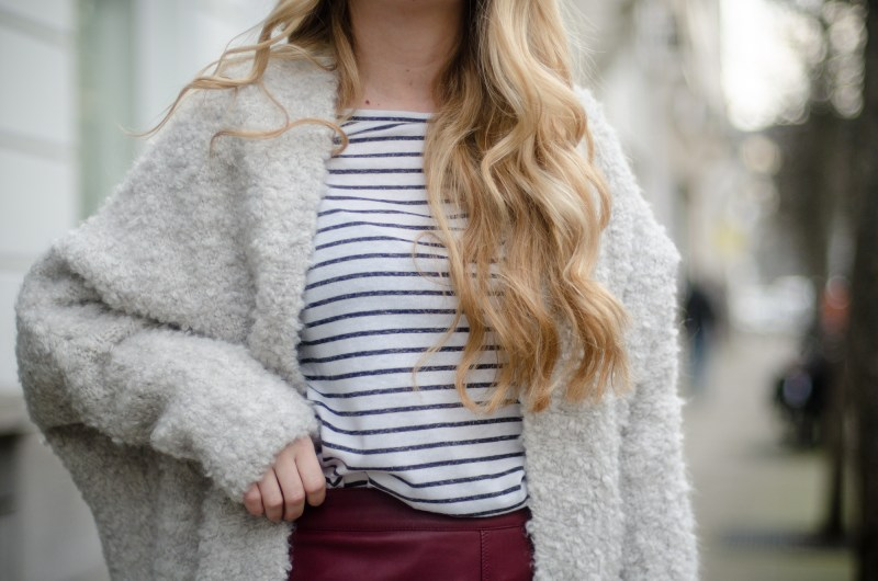 Leather pencil skirt and striped top outfit
