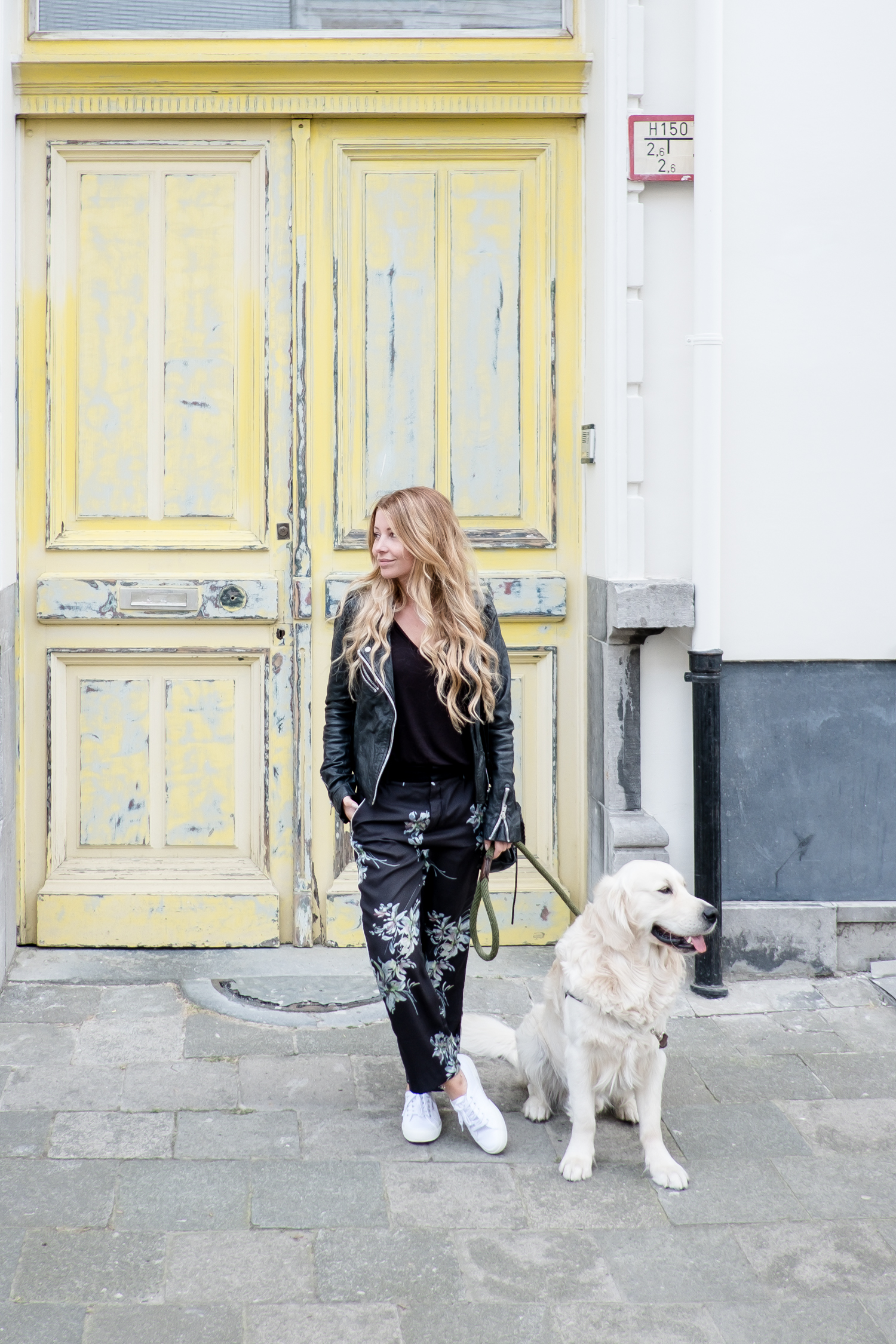 Zara Floral Pants during doggy walks with Lewis
