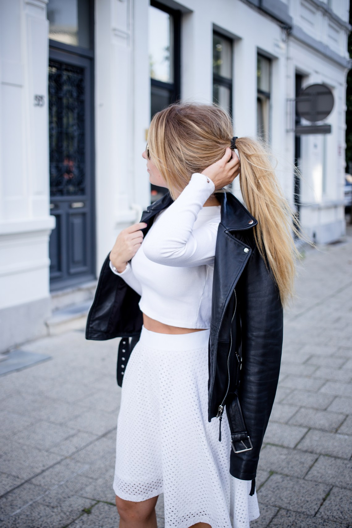 Long sleeved crop top and skater skirt-12