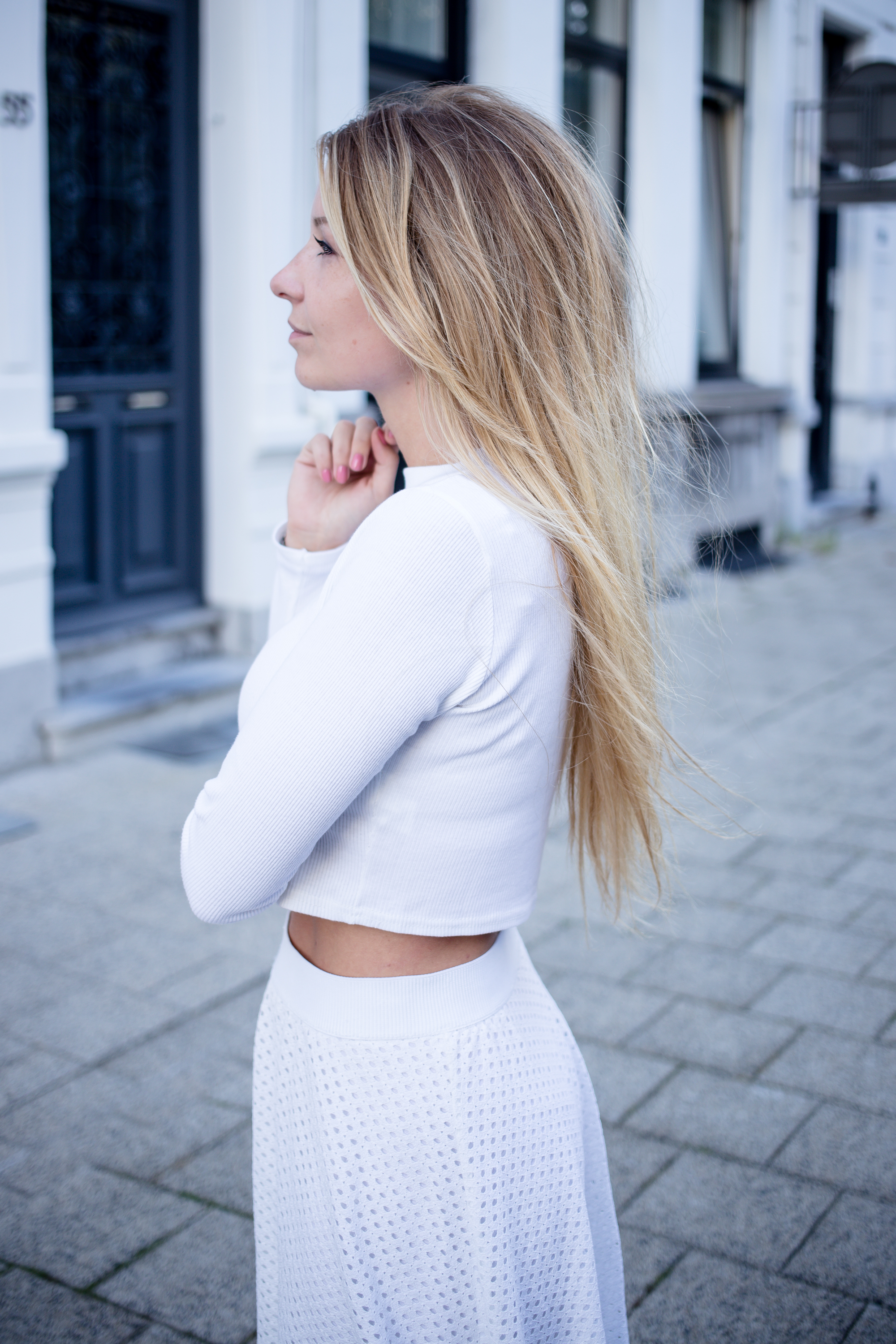 Long sleeved crop top and skater skirt-46
