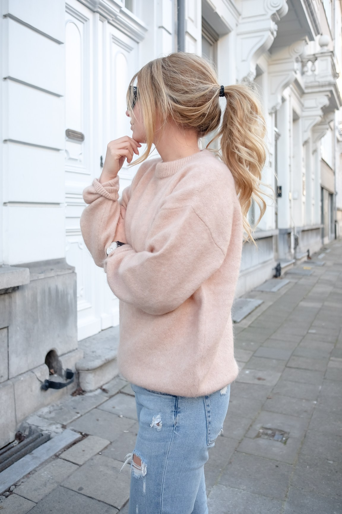 Acne dramatic blush pink sweater