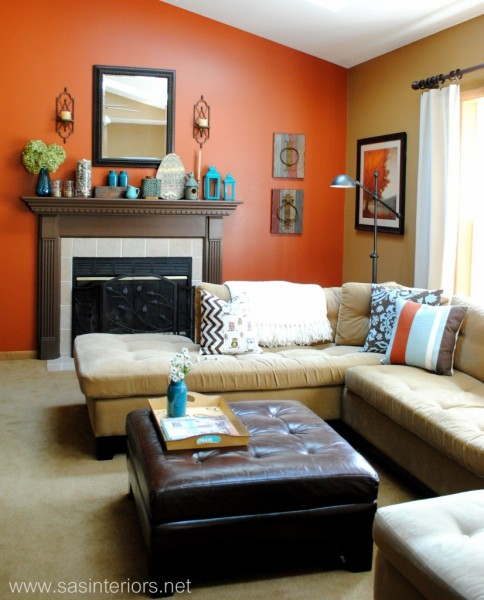 orange accent wall in kitchen. kitchen decorating ideas with,