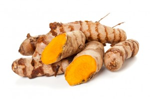 Turmeric roots isolated