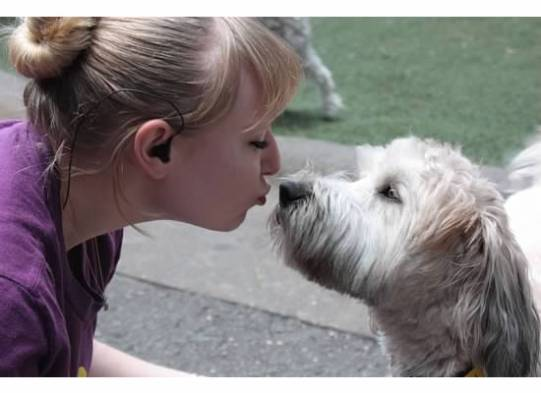 Meghan, our Shift Leader, is caught stealing a kiss from sweet Millie, the Wheaton Terrier.