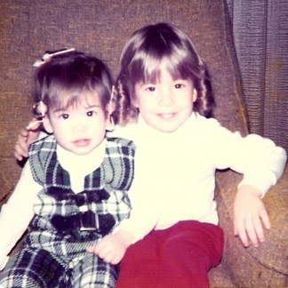 Sisters - Andrea and Jennifer as children on a couch
