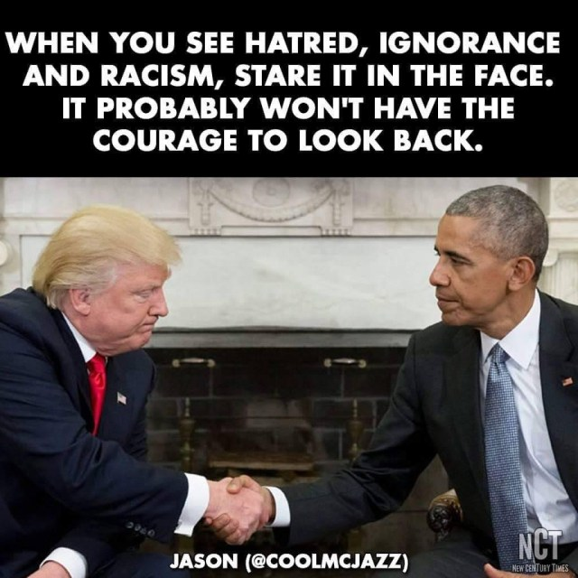 Photo: Stare Hatred, Ignorance, and Racism in the Face.