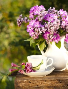Spring lilacs perfume the air.