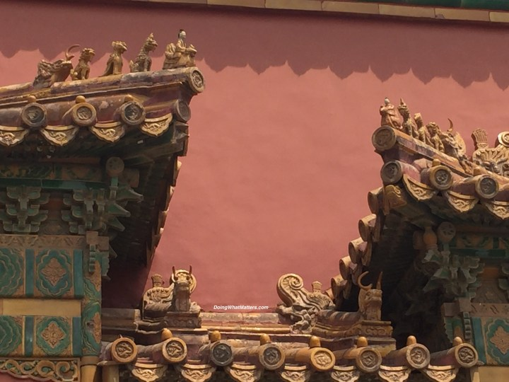 Roof ornaments at the Forbidden City, Beijing, China.