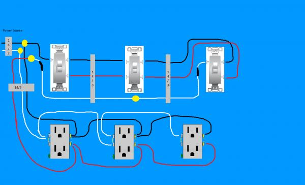 three gang switch wiring diagram to receptcle  wiring