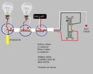 Troubleshooting problem wiring power>two fluorescent ballasts>switch  DoItYourself