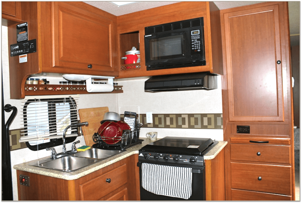 inside an rv kitchen