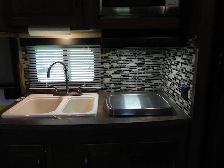 Campers Kitchen And Bathroom Get Adhesive Tiles