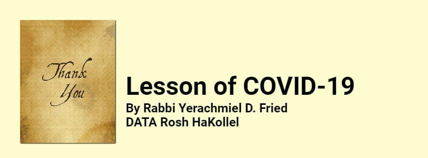 Ask the Rabbi: Lesson of COVID-19 1