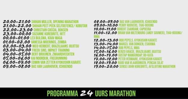 agenda 24 uurs marathon