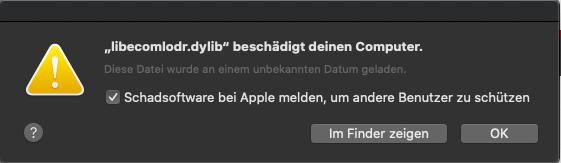 Fehlermeldung zur libecomlodr.dylib unter Mac OS X Catalina nach Update