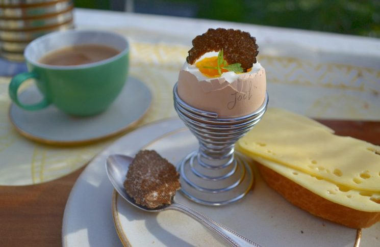 Das Frühstücksei von Huhn Joel auf dem Tisch von Sabine in Hamburg