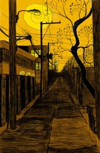 Alley Study 22 with Crooked Tree