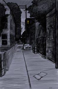 Alley Study 9 with Oil Drum Garbage Cans