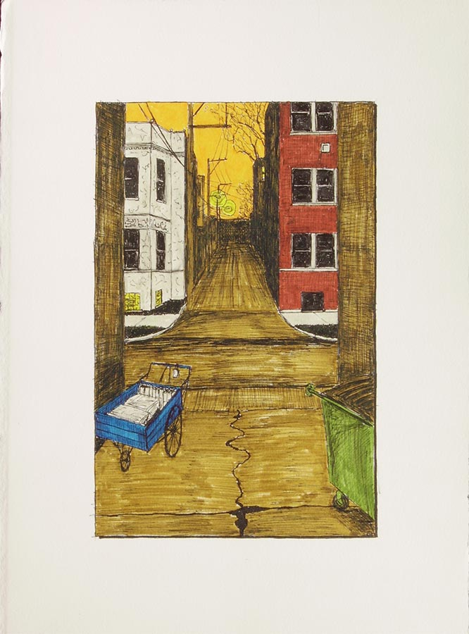 Alley with Newspaper Cart