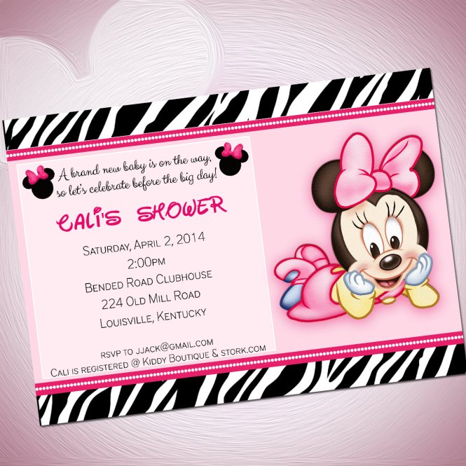 Cute Minnie Mouse Baby Shower Invitations Dolanpedia