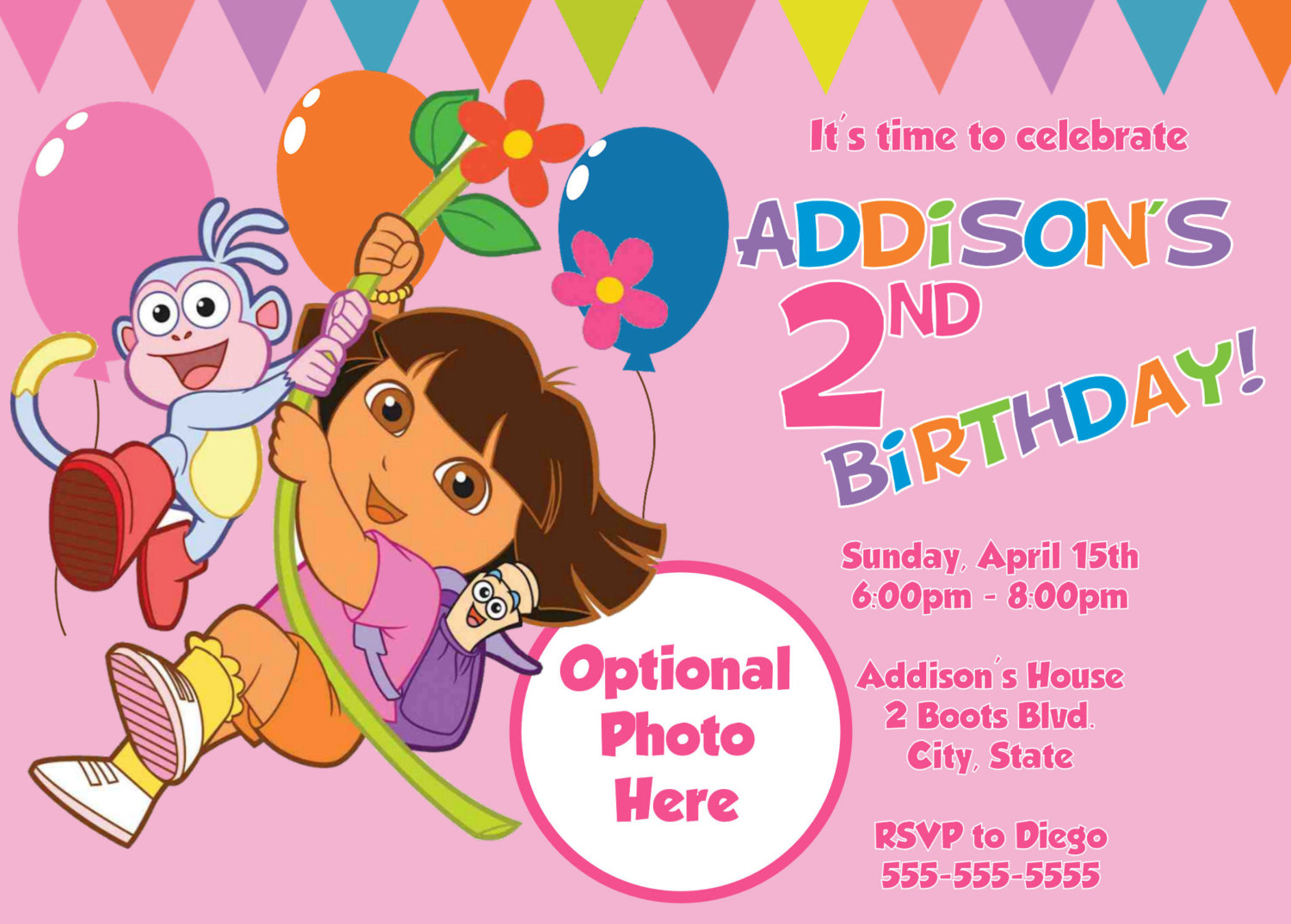Dora The Explorer Birthday Party Invitations