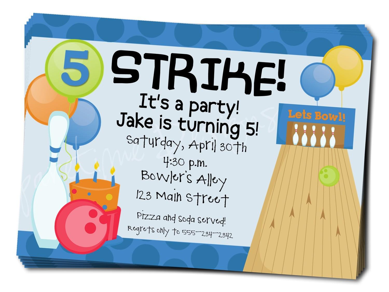 free bowling birthday party invitations