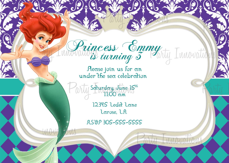 the little mermaid birthday invitations