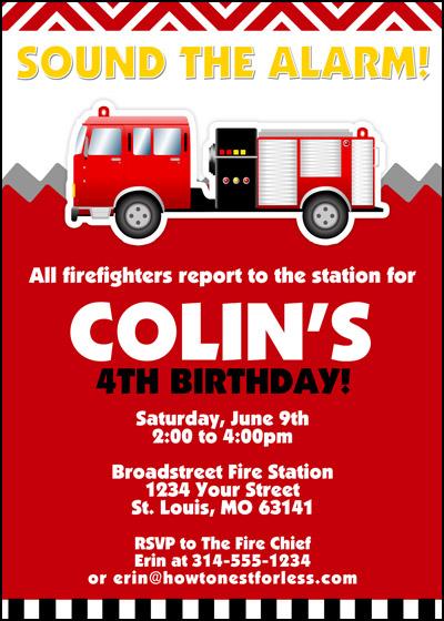 free printable fire truck birthday