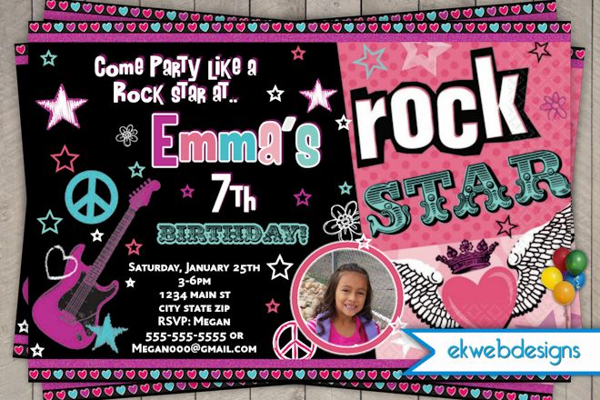 Rock Star Birthday Party Invitations DolanPedia