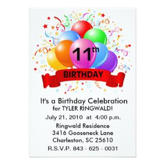 11th birthday party invitation wording