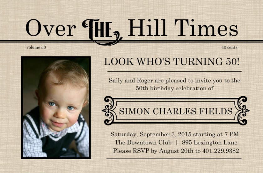 50th Birthday Invitations And Decorations