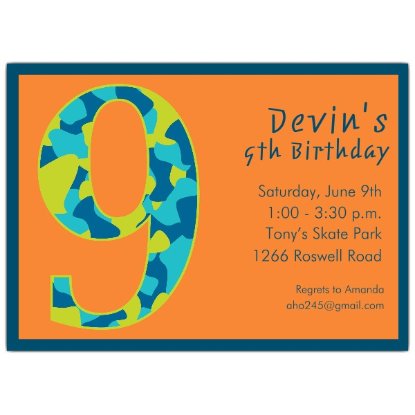9th Birthday Party Invitation Wording