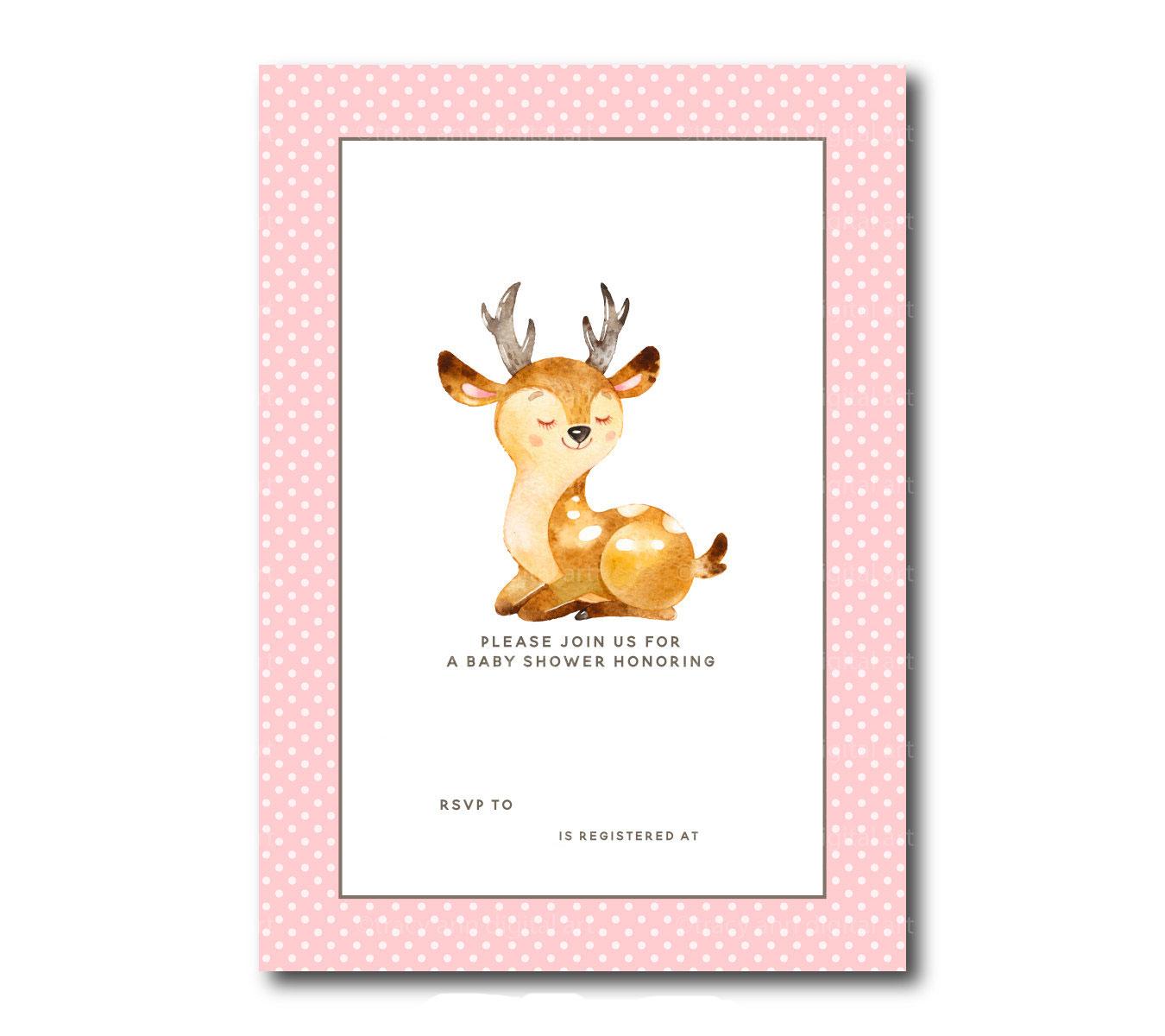 Free Printable Baby Deer Baby Shower Template