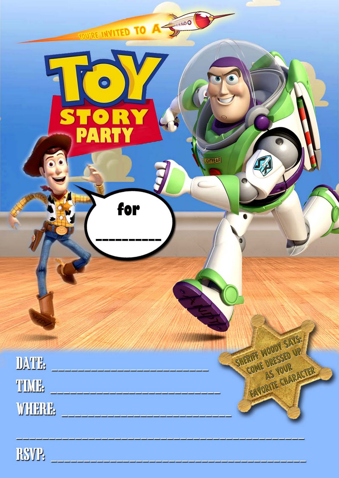 Free Printable Toy Story Invitation Template